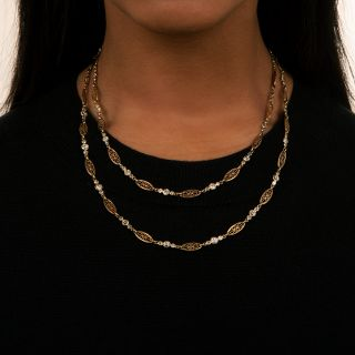 Long French Diamond Chain Necklace