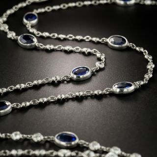 Long Platinum, Sapphire and Diamond Chain