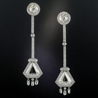 Long Shield-Shaped Diamond Platinum Earrings - 1