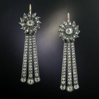 Long Vintage Diamond Dangle Earrings - 5