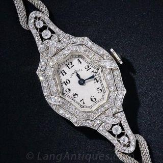 Longines Antique Diamond Ladies Watch w/ Platinum Mesh Bracelet