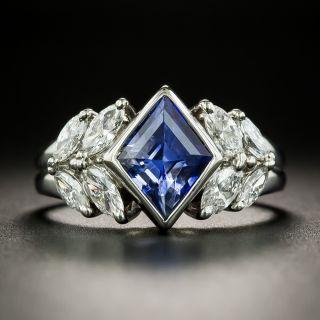 Estate Kite Shaped 2.53 Carat Sapphire and Diamond Ring - 2