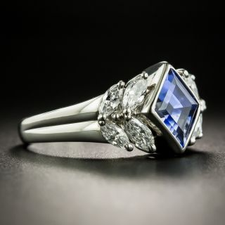 Lozenge Shape 2.53 Carat Ceylon Sapphire Platinum Diamond Ring