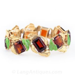Madeira Citrine Enamel Bracelet and Earrings