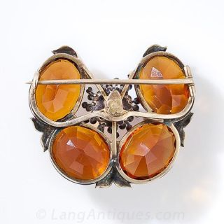 Madeira Citrine Stylized Butterfly Brooch