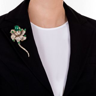 Magnificent Emerald and Diamond Flower Brooch