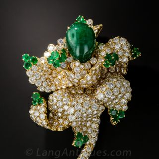 Magnificent Emerald and Diamond Flower Brooch - 1