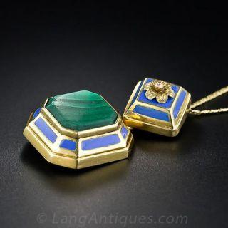 Malachite and Blue Enamel Locket Necklace