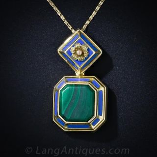 Malachite and Blue Enamel Locket Necklace - 3