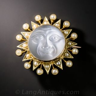 Man-in-the-Moonstone Sunburst Pin