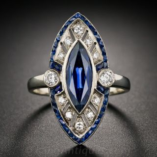 Marquise Sapphire and Diamond Art Deco Style Ring