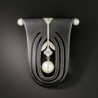 Marsh and Company Oxidized Steel Pearl and Diamond Brooch - 2