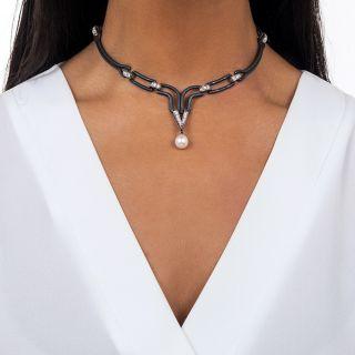 Marsh & Co. Black Steel, Diamond and Pearl Choker