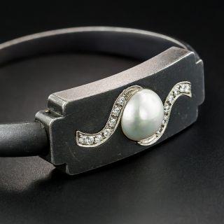Marsh & Company Blackened Steel Pearl and Diamond Bangle Bracelet - 2