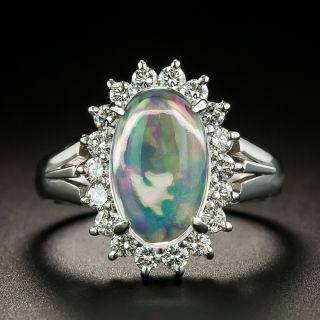 Mexican Jelly Opal and Diamond Halo Ring - 1