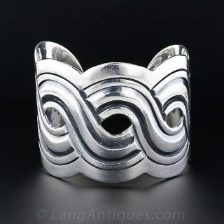 Mexican Sterling Silver Wide Cuff Bangle