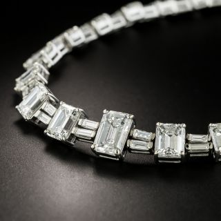 Mid-20th Century Emerald-Cut Diamond Necklace -- 28.19 Carats - 4