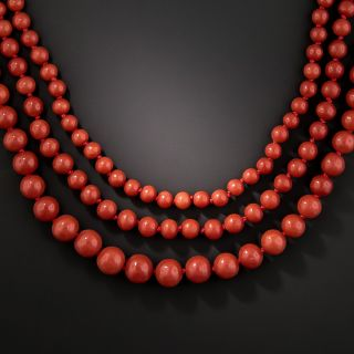 Mid-20th Century Triple-Strand Red Coral Necklace