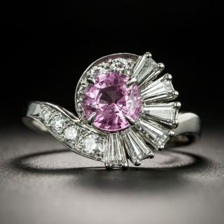 Mid-Century 1.15 Carat No-Heat Pink Sapphire and Diamond Ring - 2