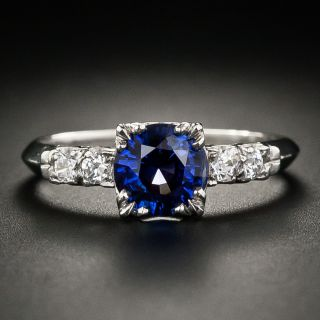 Mid Century 1.25 Carat Sapphire and Diamond Engagement Ring by J & H Flyer - 2
