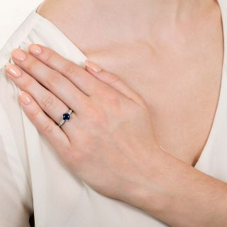 Mid Century 1.25 Carat Sapphire and Diamond Engagement Ring by J & H Flyer