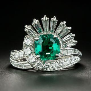 Mid Century 1.64 Carat Emerald and Diamond Cocktail Ring - 2