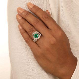 Mid-Century 1.58 Carat Emerald Diamond Platinum Cocktail Ring