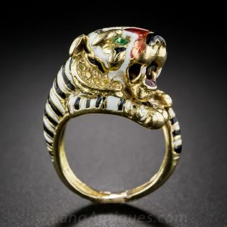 Mid-Century 14K Gold and Enamel Tiger Ring
