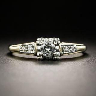 Mid-Century .17 Carat Diamond Two-Tone Engagement Ring - 2