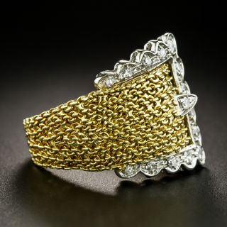 Mid-Century 18K Diamond Buckle Ring