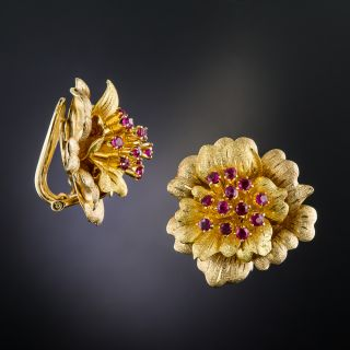 Mid-Century 18K Gold and Ruby Flower Earrings