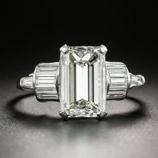 Mid-Century 2.76 Carat Emerald-Cut Diamond Engagement Ring - GIA F VVS2 - 2