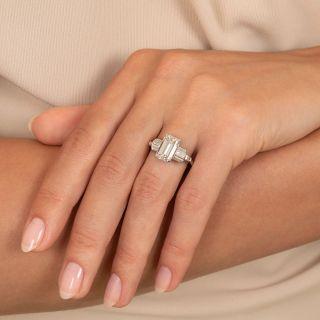 Mid-Century 2.76 Carat Emerald-Cut Diamond Engagement Ring - GIA F VVS2
