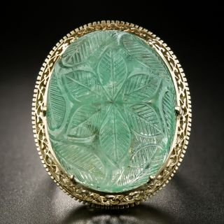 Mid-Century 26 Carat Carved Emerald Ring - 2
