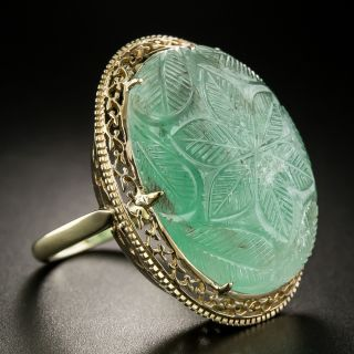 Mid-Century 26 Carat Carved Emerald Ring