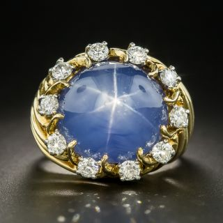 Mid-Century 33 Carat Star Sapphire Diamond Ring - 2