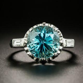 Mid-Century 5.00 Carat Zircon and Diamond Ring - 2