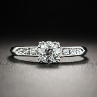 Mid-Century .60 Carat Diamond Platinum Engagement Ring - GIA E SI1 - 1