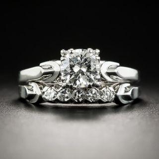 Mid-Century .60 Ct, Diamond Platinum Wedding Set  - 2
