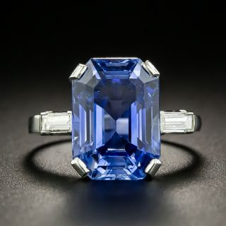 Mid-Century 8.00 Ct. No-Heat Emerald-Cut Ceylon Sapphire Ringg - 4