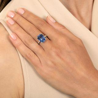 Mid-Century 8.00 Carat No-Heat Emerald-Cut Ceylon Sapphire Ring