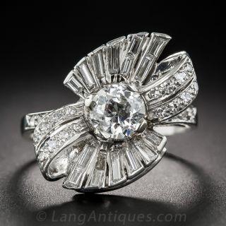 Mid-Century .80 Carat Diamond Bow Motif Ring - 2