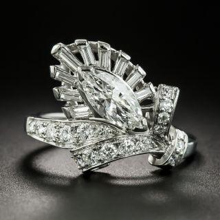 Mid-Century .80 Carat MarquiseDiamond Ring - 2