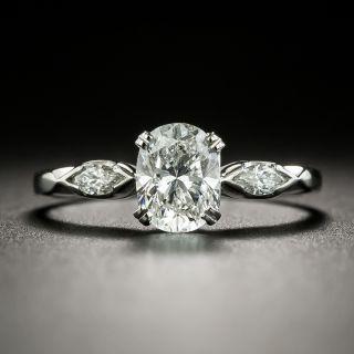 Mid-Century .85 Carat Oval-Cut Diamond Engagement Ring - GIA E VS2 - 2