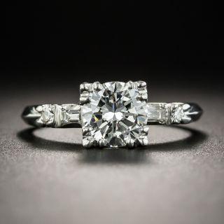 Mid-Century .98 Carat Platinum Diamond Engagement Ring - GIA F VS1 - 1