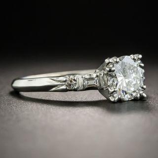 Mid-Century .98 Carat Platinum Diamond Engagement Ring - GIA F VS1