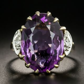 Mid-Century Amethyst and Diamond Cocktail Ring  - 2