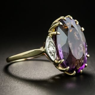 Mid-Century Amethyst and Diamond Cocktail Ring