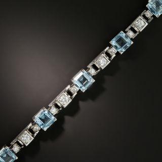 Mid-Century Aquamarine and Diamond Platinum Bracelet
