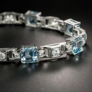 Mid-Century Aquamarine and Diamond Platinum Bracelet - 4